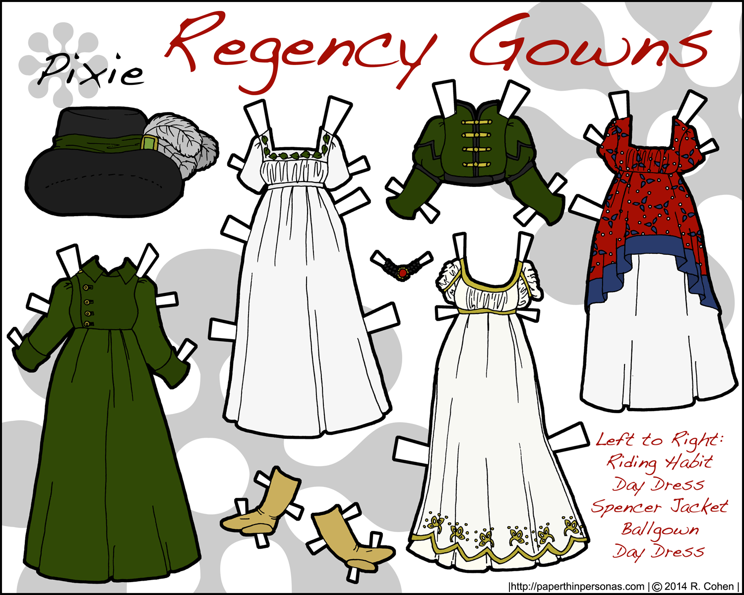 Regency era historical paper doll fashions in color from paperthinpersonas.com