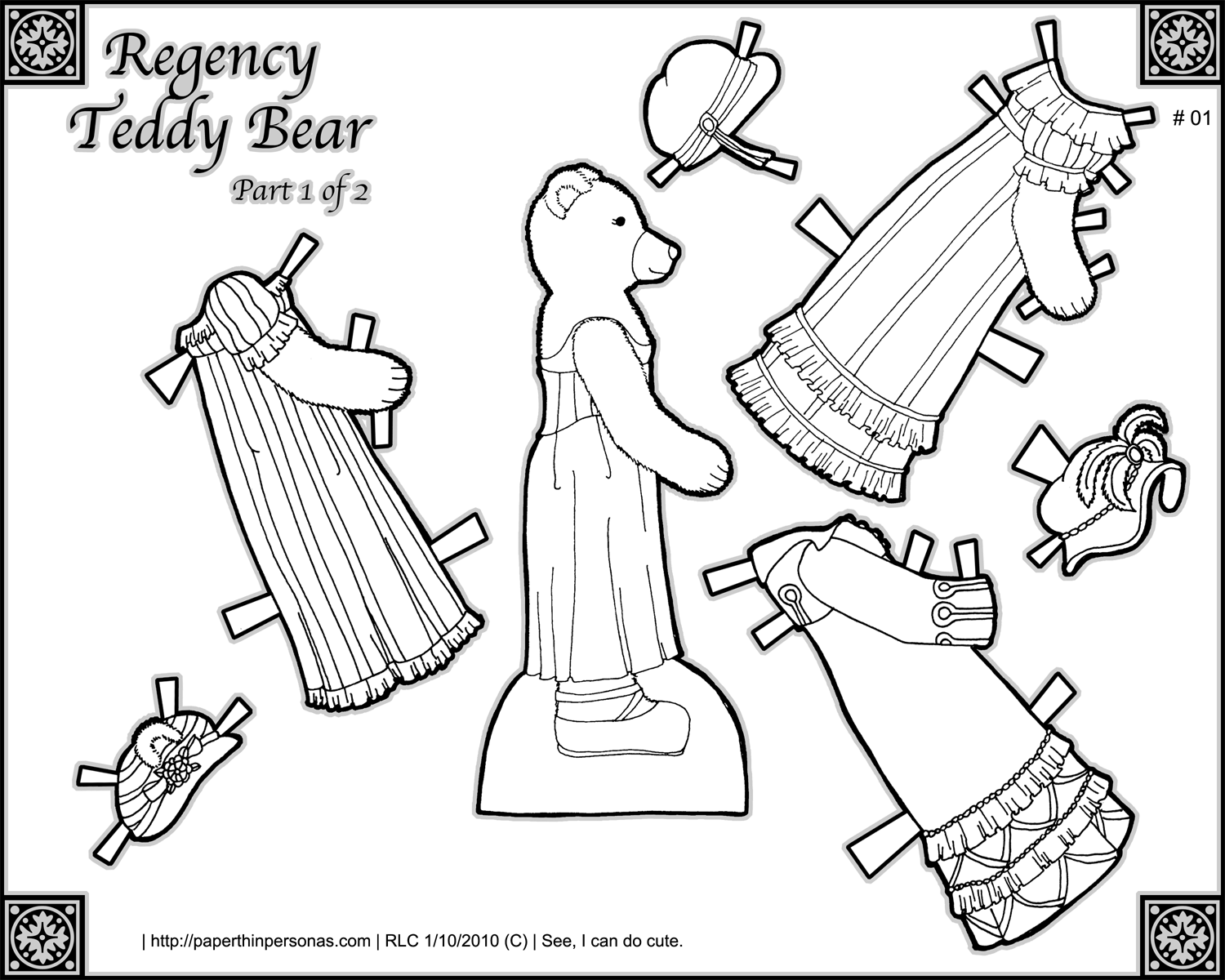 Printable Regency Teddy Bear Paper Doll Coloring Page