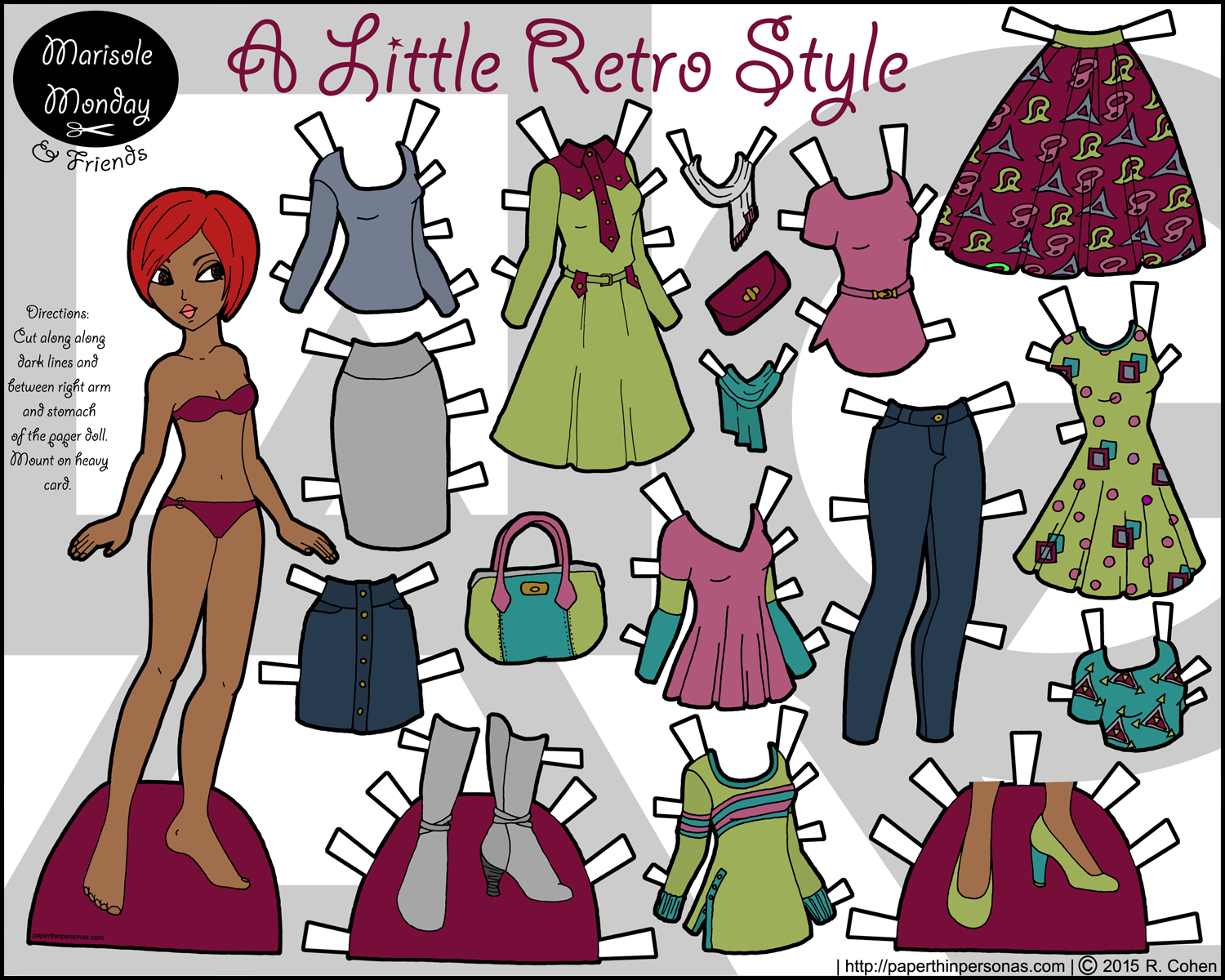 A contemporary printable paper doll of a young black woman with a 17 piece wardrobe.