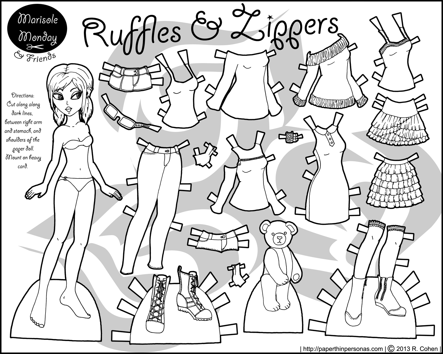Other friends archives paper thin personas for Paper doll coloring page