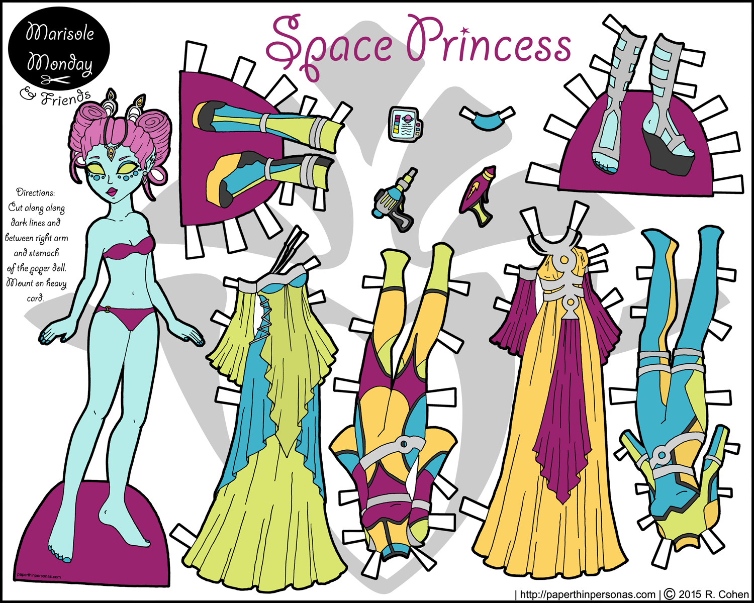 A printable paper doll of an alien princess in black and with with a seven piece wardrobe.