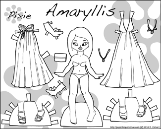 Black and White fantasy paper doll