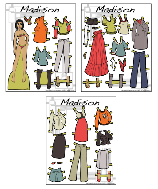 Madison- Full Color Asian Paper Doll