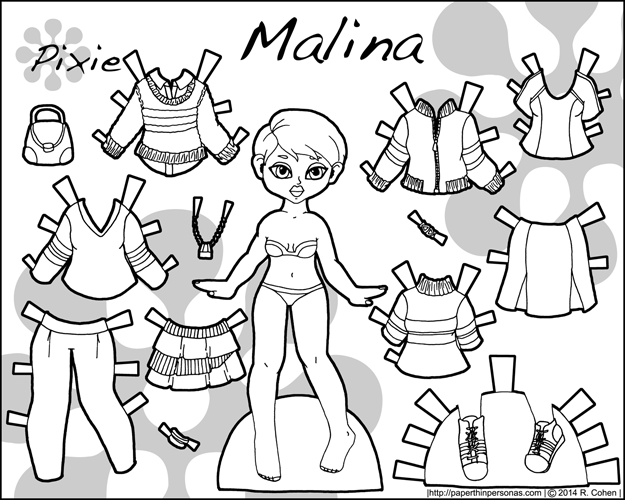 Malina, an autumnal printable paper doll with several outfit pieces in black and white for coloring