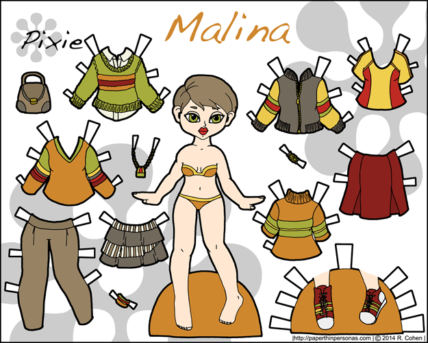 Malina, an autumnal printable paper doll with several outfit pieces in color