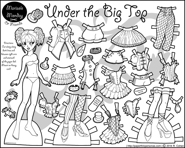 Printable paper doll in black and white inspired by circuses