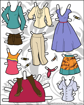 black and white printable paper doll clothes for Ms Mannequin paper doll series