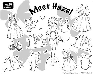 Black and White printable paper doll with vintage style clothing
