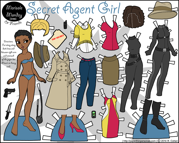 Thumbnail of full color printable paper doll- Marisole as a Spy