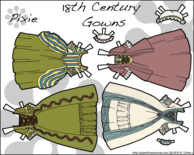 A paper doll with fashions from between 1740 and 1750. Her hair is styled in a tight series of rolled curls known as a
