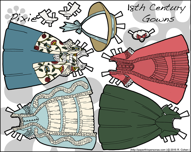 A set of four 18th century gowns for the Pixie series of paper dolls including a round gown, a square hooped court gown and a caraco jacket in black and white for coloring