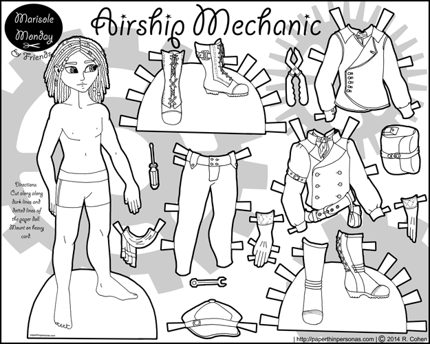 A printable steampunk inspired airship mechanic coloring page.