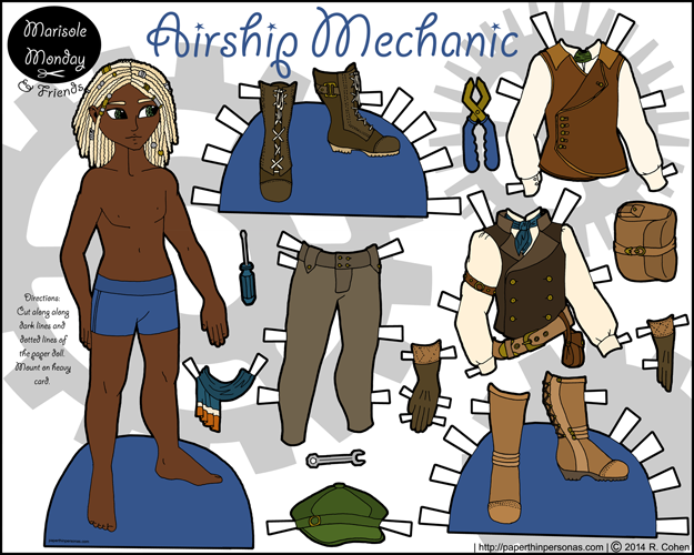 A printable steampunk inspired airship mechanic paper doll.