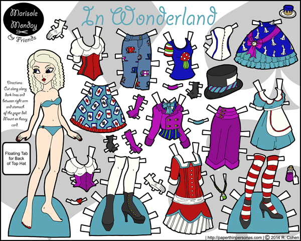 paper doll to print based on Alice's Adventures in Wonderland