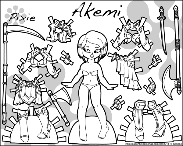 Printable female warrior paper doll with armor and weapons in black and white for coloring