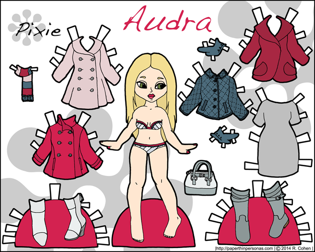Audra, a printable paper doll with a fashionable wardrobe of coats in color