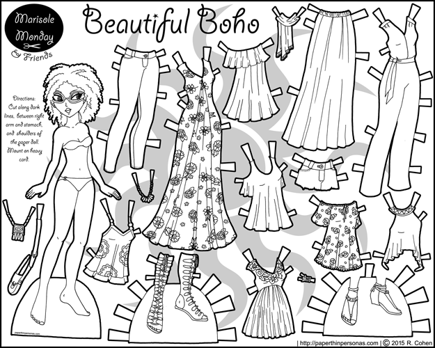 A printable coloring page of a black paper doll with a 16 piece contemporary boho wardrobe.