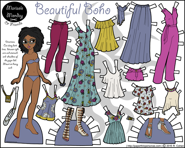 A printable black paper doll with a nineteen piece contemporary wardrobe with accessories in color.