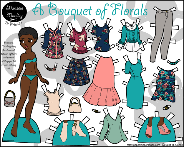 Printable paper doll of a young black woman with an afro and contemporary wardrobe