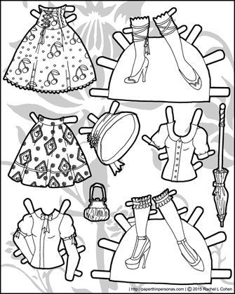 Chloe an Asian paper doll with two pairs of shoes in black and white. Part of the Ms. Mannequin series, she can wear any of the Ms. Mannequin clothing