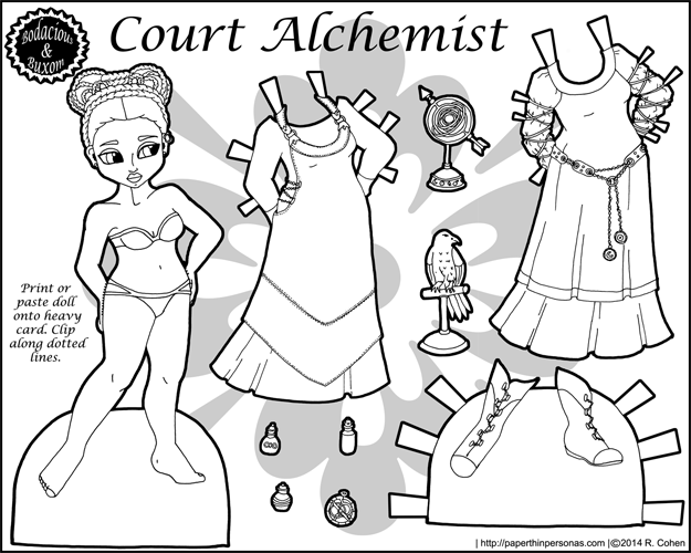 Court Alchemist Paper Doll in Black and White for Coloring