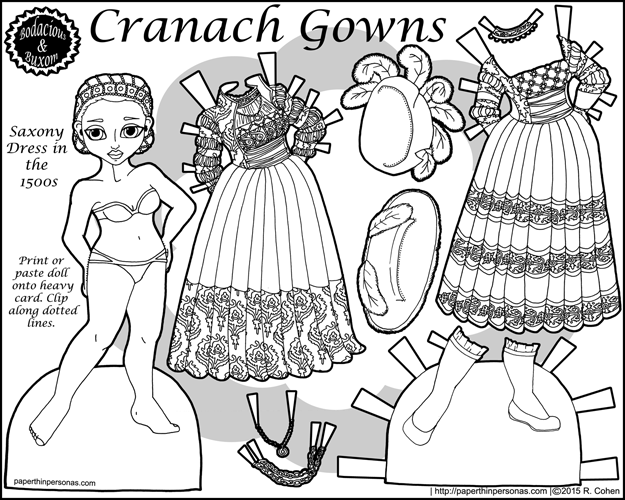 Cranach Gowns, a paper doll of a 15th century Saxony dress in Germany with two gowns, two hats, one pair of shoes in black and white for printing