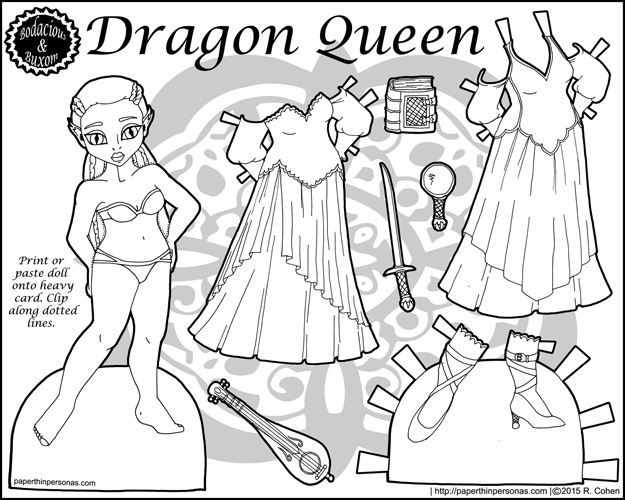 Dragon Queen Fantasy Paper Doll in Black and White for Coloring