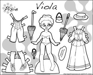 Viola, a printable paper doll from the 1890s in black and white