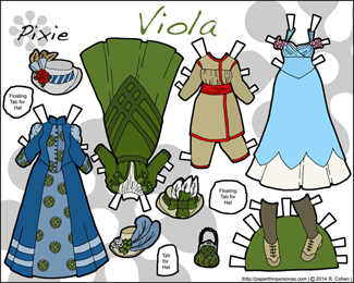 Viola's Wardrobe, a printable paper doll from the 1890s in full color