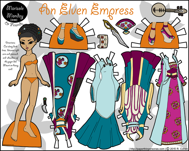 A printable Asian paper doll with fantasy gowns based on Chinese historical dresses