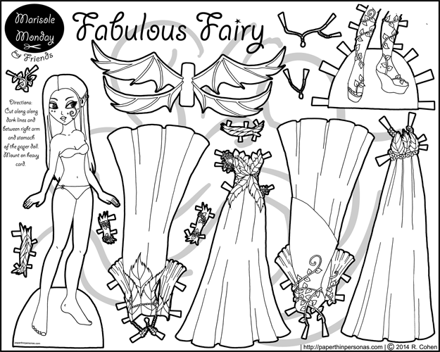 Printable fantasy fairy paper doll coloring page with four dresses