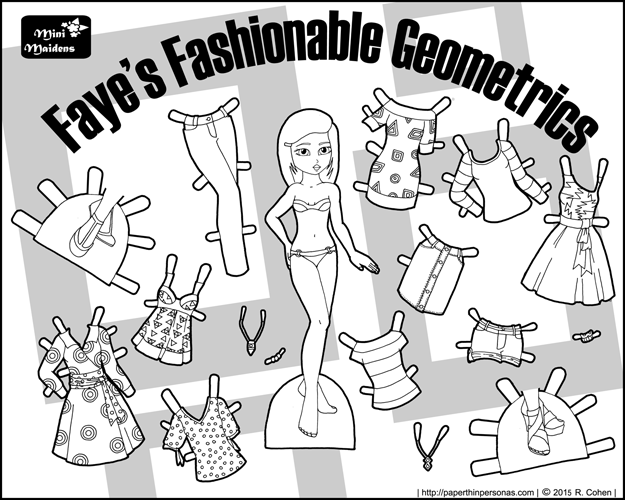 black and white black printable paper doll with a contemporary wardrobe