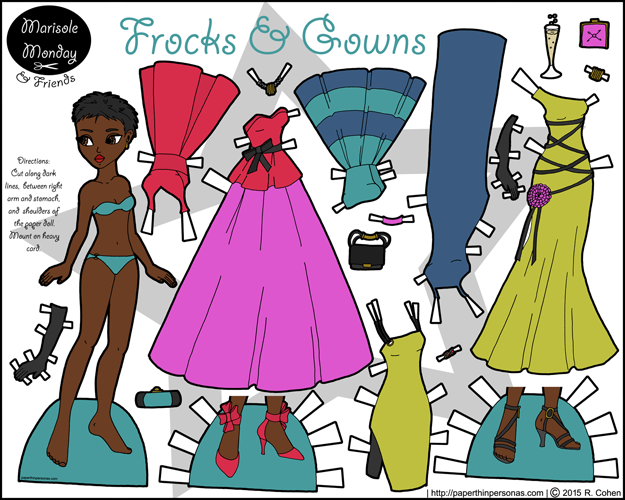 A printable paper doll of a young black woman with a brightly colored wardrobe