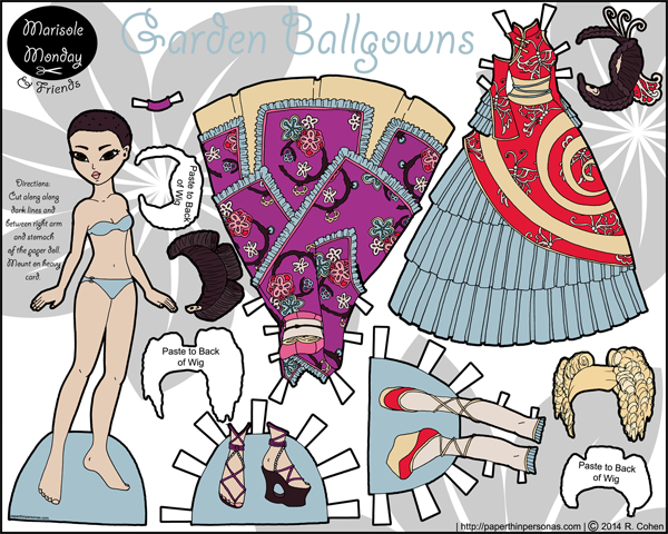 Asian paper doll to print with two ballgowns based Wa Lolita and Qi Lolita styles