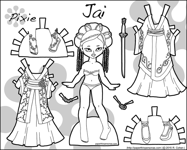 Link to Jai, a fantasy printable paper doll in black and white for coloring inspired by historical Chinese dress