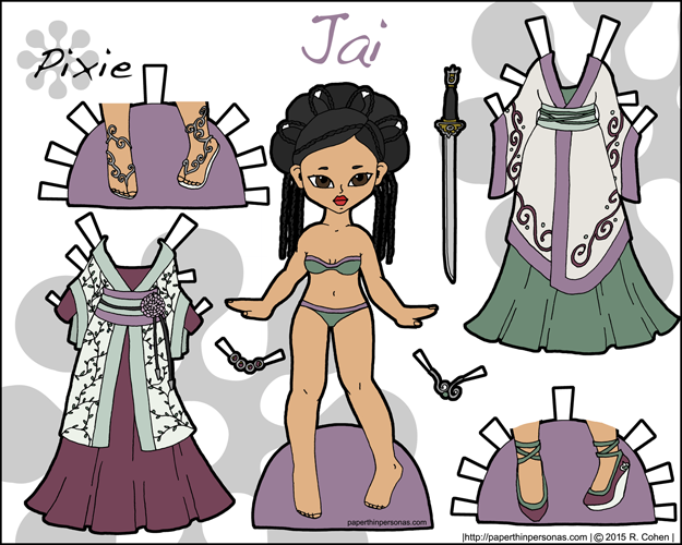 Link to Jai, a fantasy printable paper doll inspired by historical Chinese dress in color. Part of the Pixie series, Jai can share clothing with the other Pixie paper dolls