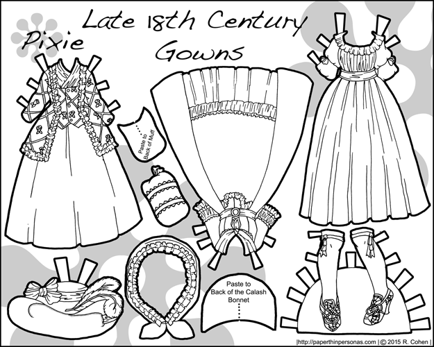 A set of three later 18th century paper doll gowns consisting of a chemise a la reine, a robe ala anglaise and a caraco jacket with petticoat in black and white for coloring