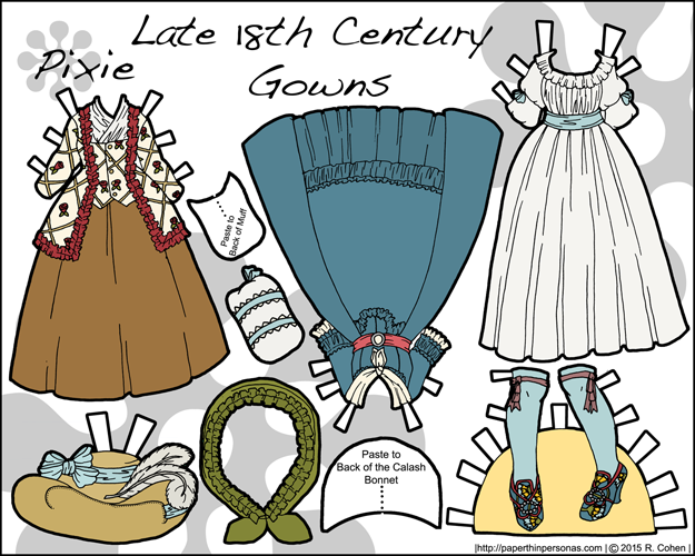 A set of three later 18th century paper doll gowns consisting of a chemise a la reine, a robe ala anglaise and a caraco jacket with petticoat in color