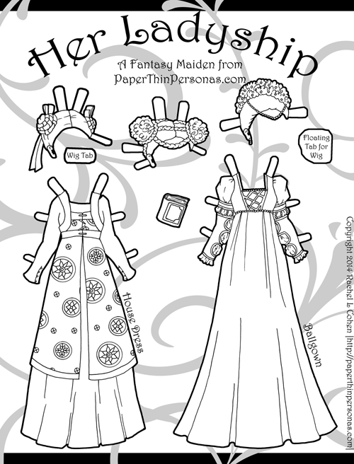 Fantasy Printable Paper Doll Coloring Page