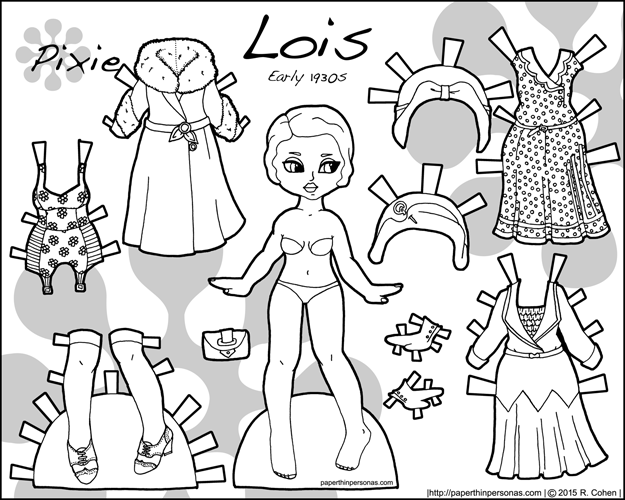 Lois is a printable historical paper doll with two dresses, two hats, a coat, underwear and shoes from the early 1930s in black and white for coloring