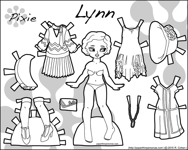 Link to Lynn, a printable historical paper doll with dresses from the 1920s in black and white for coloring