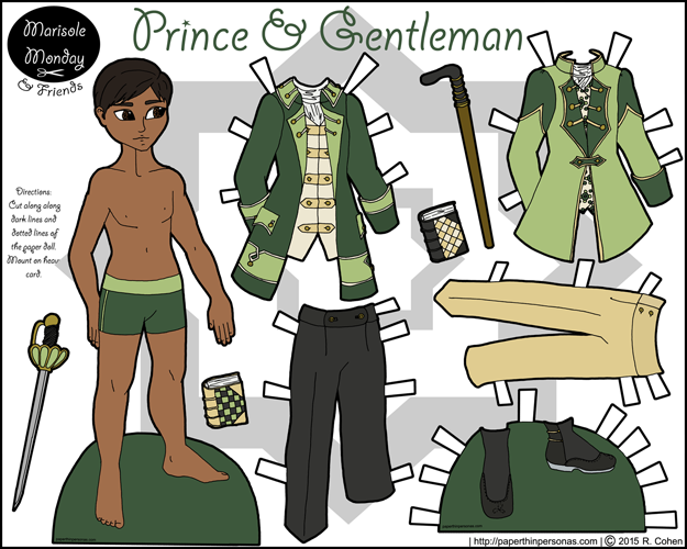 A printable coloring page of a prince paper doll inspired by the 18th century