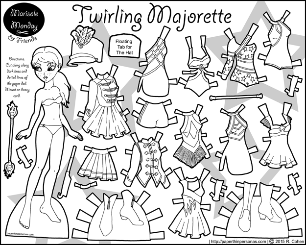 A printable majorette or baton twirling paper doll to print and color.
