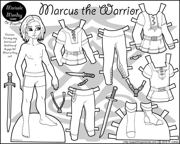 A printable fantasy warrior paper doll set for coloring