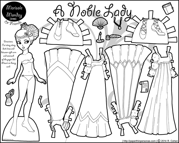 printable full color paper doll with summer beach clothing