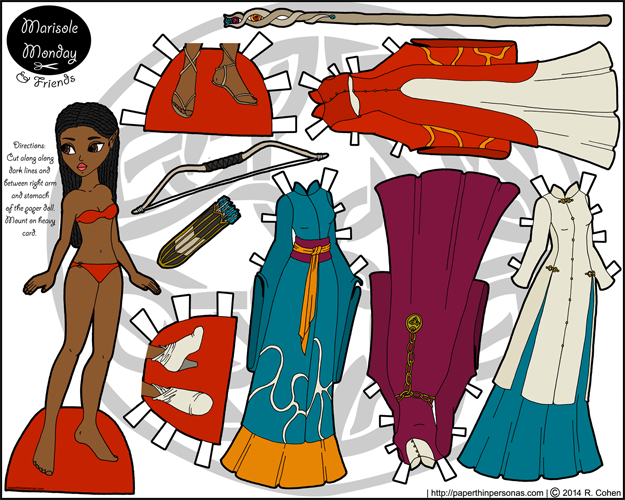 Printable fantasy elf paper doll with four gowns to color