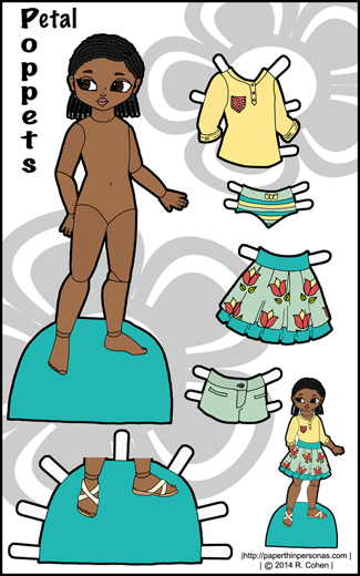 Full color printable paper doll of Petal, a little black girl with braids and her clothes