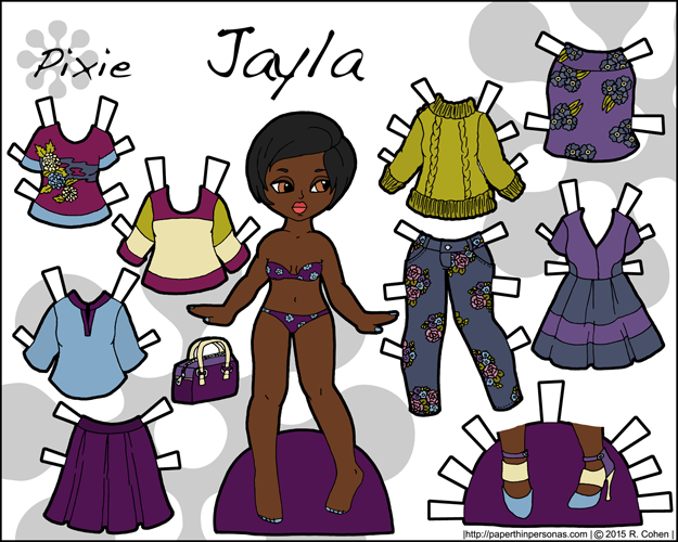 Link to Jayla, a black paper doll with a contemporary wardrobe. Part of the Pixie series, Jayla can share clothing with the other Pixie paper dolls