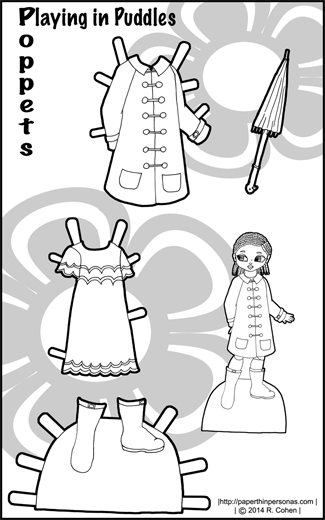 BPlaying in Puddles: A Poppet Paper Doll Dress-Up Set with a Rain coat, boots, umbrella and dress in black and white for coloring