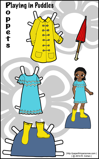 Playing in Puddles: A Poppet Paper Doll Dress-Up Set with a Rain coat, boots, umbrella and dress in color